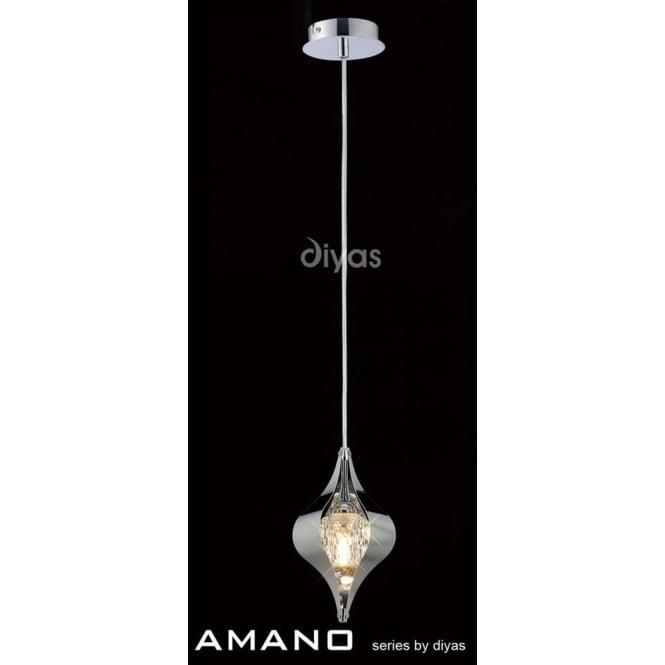 Diyas IL30582 Amano 1 Light Ceiling Pendant Polished Chrome