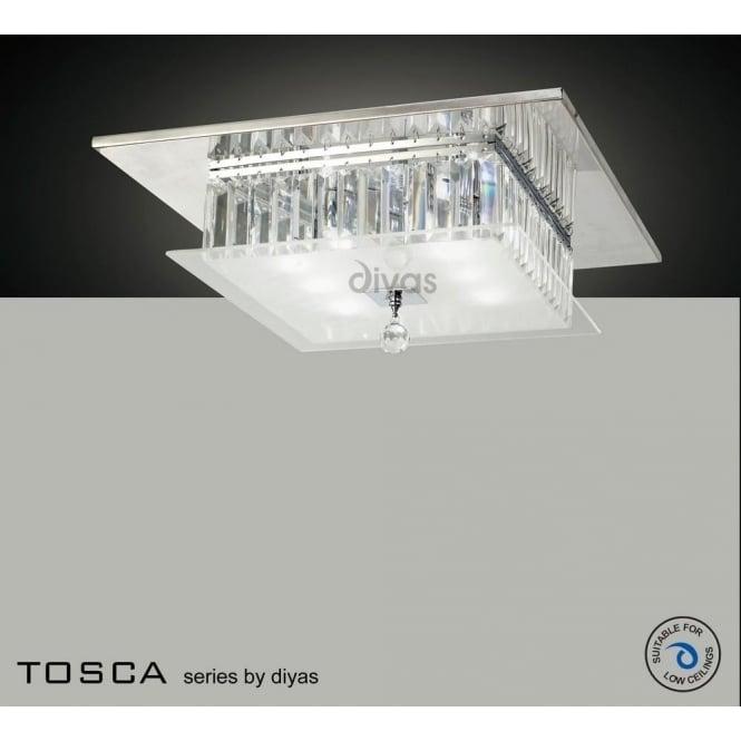 Diyas IL30246 Tosca 6 light Flush Crystal Ceiling Light Polished Chrome