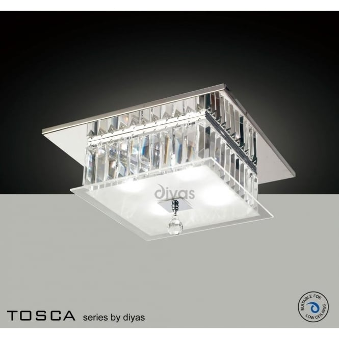 Diyas IL30245 Tosca 4 light Flush Crystal Ceiling Light Polished Chrome