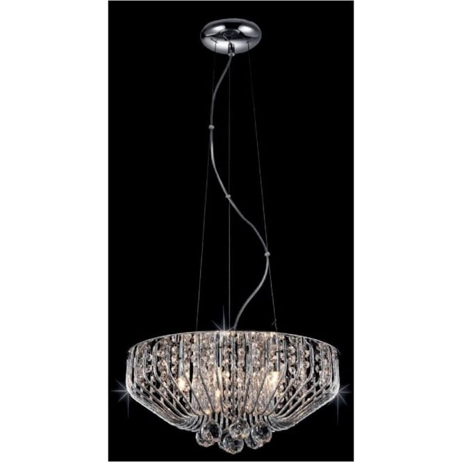 Impex Russell Impex CFH508052/05/CH 5 Light Crystal Ceiling Pendant Polished Chrome