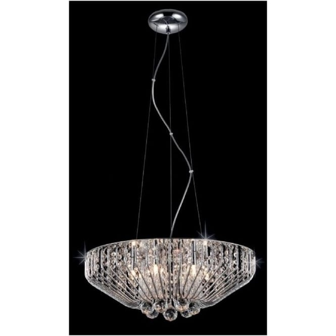 Impex Russell Impex CFH508052/06/CH 6 Light Crystal Ceiling Pendant Polished Chrome