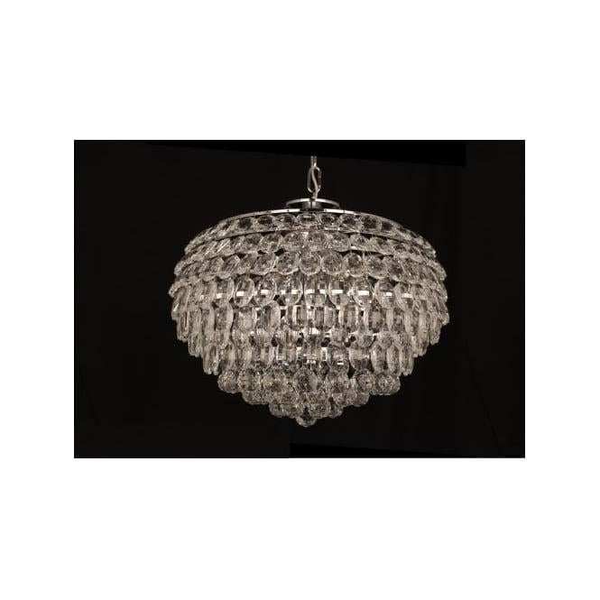 Impex Russell CF311201/06/CH Adaliz 6 Light Crystal Ceiling Pendant Polished Chrome