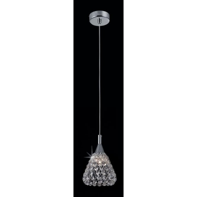 Impex Russell CFH501131/01/CH Simone 1 Light Crystal Ceiling Pendant Polished Chrome