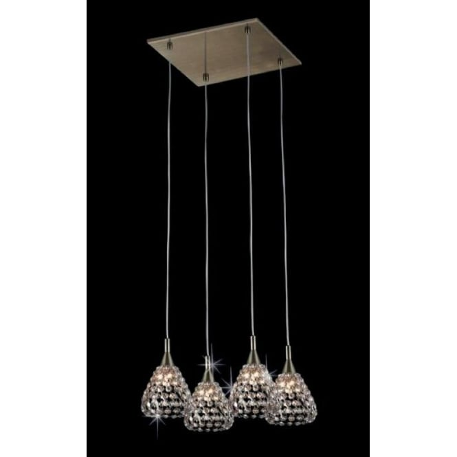 Impex Russell CFH501131/04/AB Simone 4 Light Crystal Ceiling Pendant Antique Brass