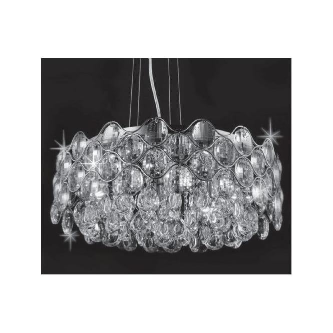Impex Russell CF412181/08/CH Raina 8 Light Crystal Ceiling Pendant Polished Chrome
