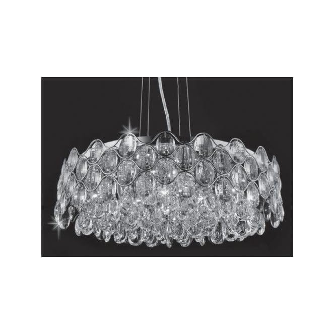Impex Russell CF412181/12/CH Raina 12 Light Crystal Ceiling Pendant Polished Chrome