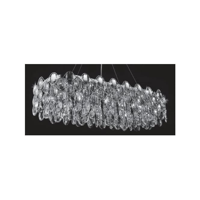 Impex Russell CF412181/10/OBL/CH Raina 10 Light Crystal Ceiling Pendant Polished Chrome