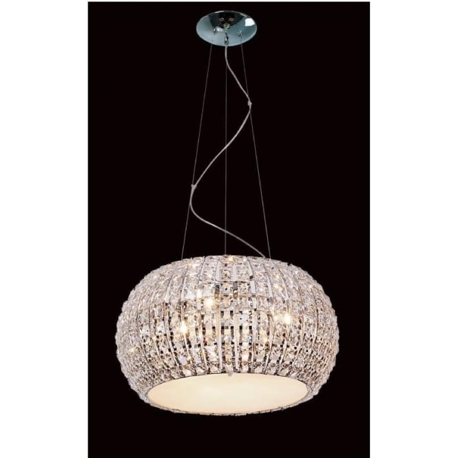 Impex Russell CFH905262/09/CH Rome 9 Light Crystal Ceiling Pendant Polished Chrome
