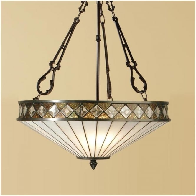 Interiors 1900 64146 Fargo 3 Light Tiffany Inverted Ceiling Pendant
