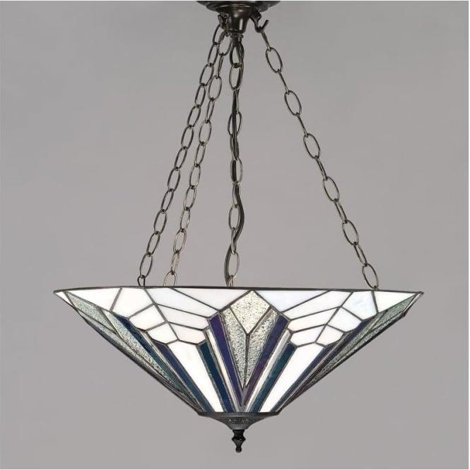 Interiors 1900 63936 Astoria 3 Light Tiffany Inverted Ceiling Pendant