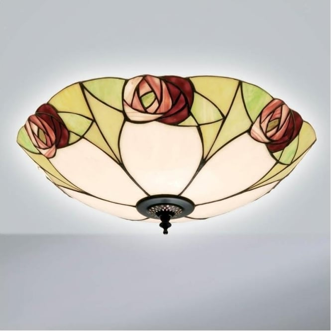 Interiors 1900 64182 Ingram 2 Light Tiffany Flush Ceiling Light