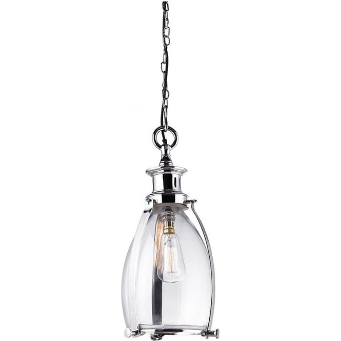 Endon EH-STORNI-S Storni 1 Light Ceiling Pendant Polished Nickel (Small)