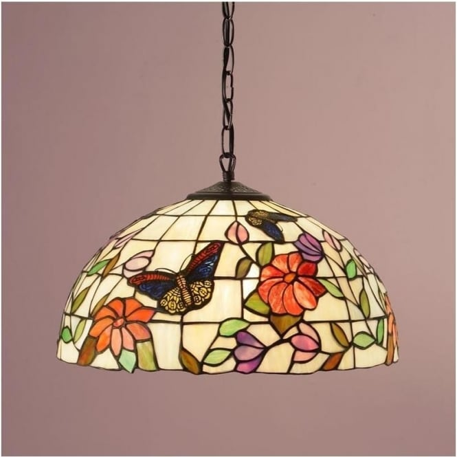Interiors 1900 63994 Butterfly 1 Light Medium Tiffany Ceiling Pendant