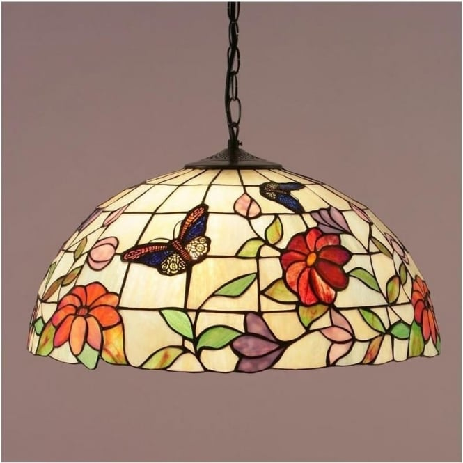 Interiors 1900 63995 Butterfly 3 Light Large Tiffany Ceiling Pendant