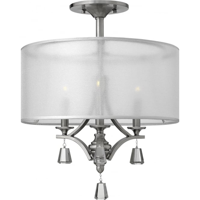 Elstead Hinkley HK/MIME/SF Mime 3 Light Ceiling Light Bushed Nickel