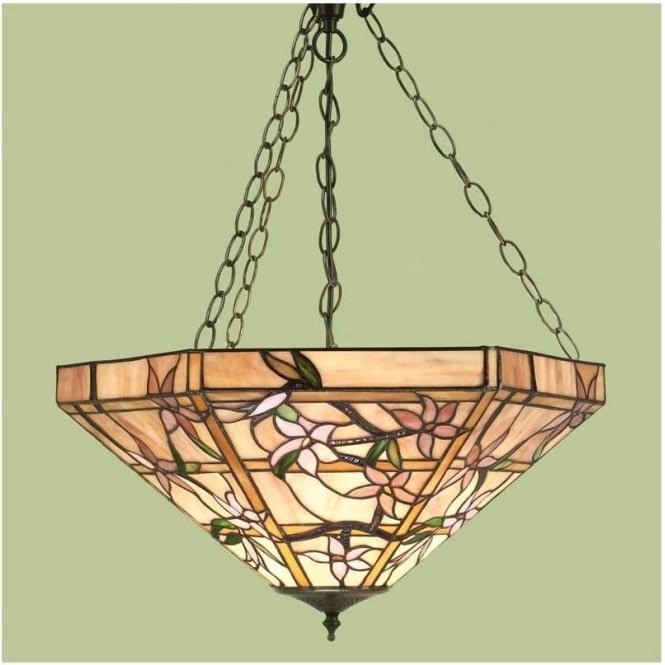 Interiors 1900 64019 Clematis 3 Light Tiffany Inverted Ceiling Pendant