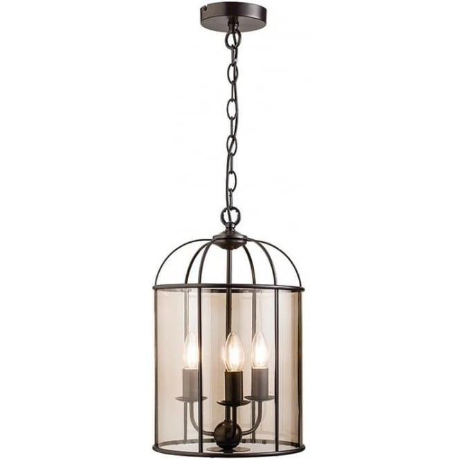 Endon 61019 Waterston 3 Light Ceiling Pendant Matt Dark Chocolate