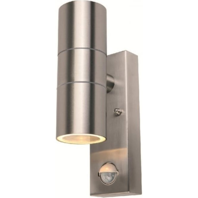 Power Master S8163 Modern 2 Light PIR Outdoor Wall Light Stainless Steel IP44