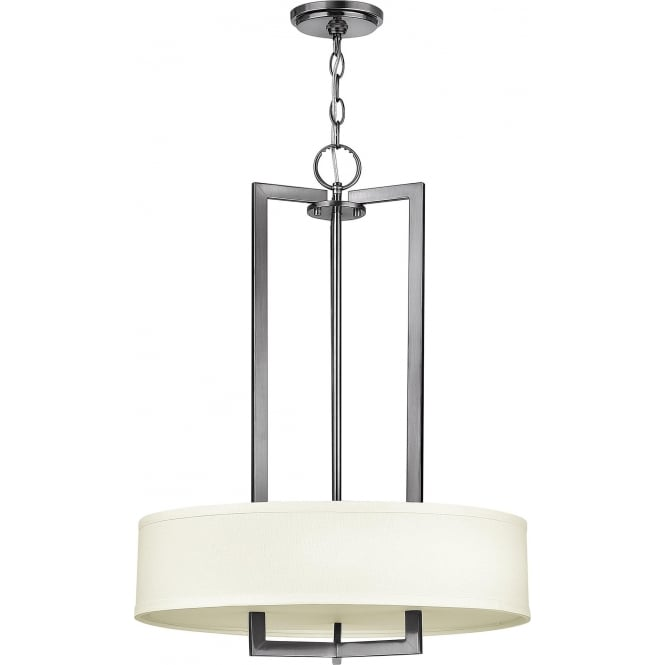 Elstead Hinkley HK/HAMPTON/P/B Hampton 3 Light Ceiling Pendant Antique Nickel