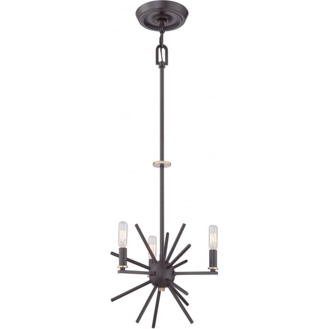 Elstead Quoizel QZ/CARNEGIE3 Carnegie 3 Light Ceiling Pendant Bronze