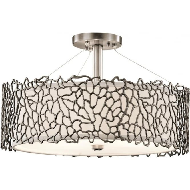 Elstead Kichler KL/SILCORAL/P/A Silver Coral 3 Light Duo-Mount Ceiling Light Pewter