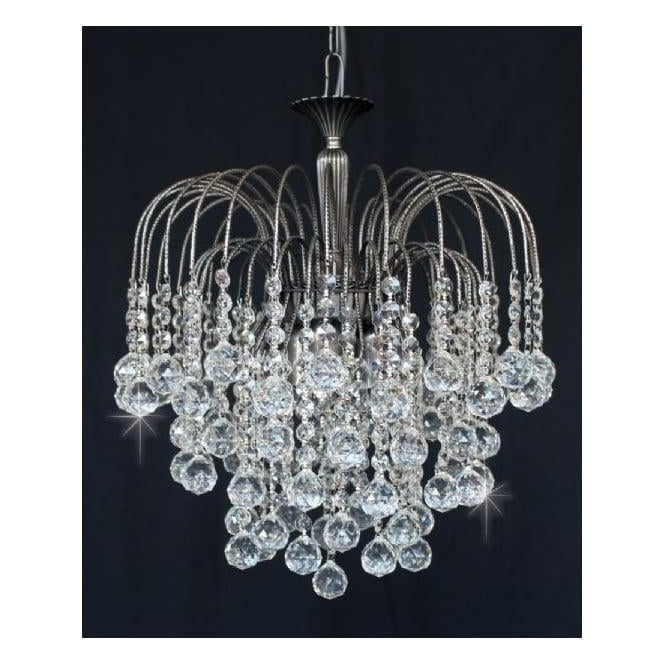 Impex Russell ST01800/40/03/AN Shower 3 Light Crystal Pendant Antique Nickel