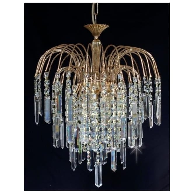 Impex Russell ST01700/40/03/G Shower Coffin 3 Light Crystal Pendant Gold