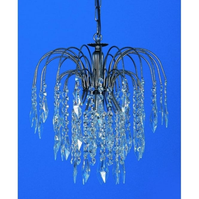 Impex Russell ST02000/35/01/AN Shower Heritage 1 Light Crystal Pendant Antique Nickel