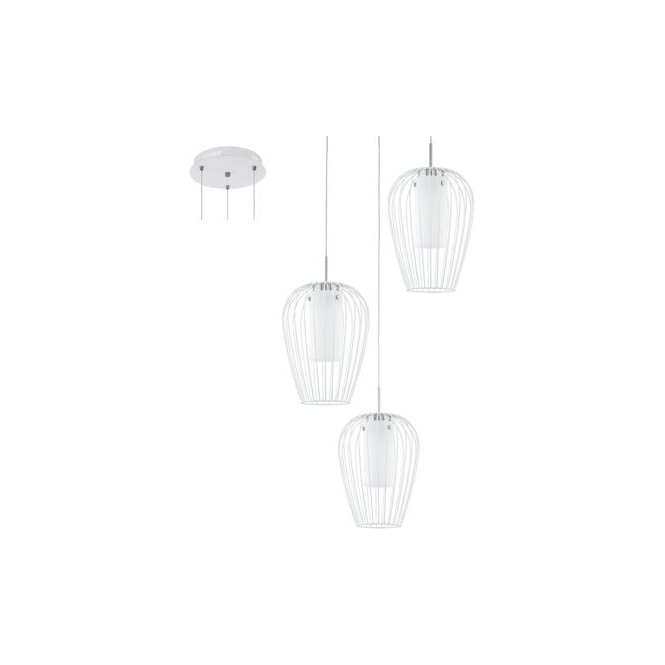 Eglo 94341 Vencino 3 Light Ceiling Pendant White Chrome