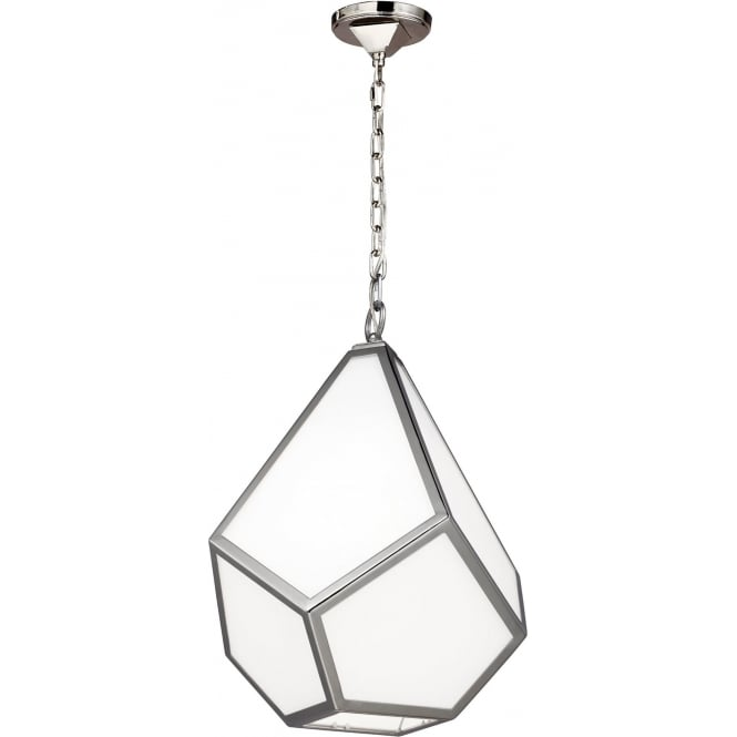 Elstead Feiss FE/DIAMOND/P/M Diamond 1 Light Ceiling Pendant Polished Nickel