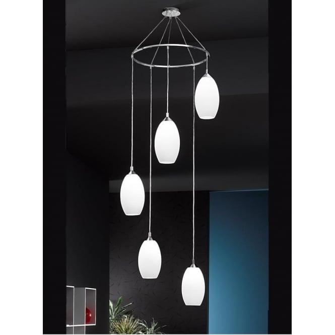 Franklite FL2199/5/818 Modern 5 Light Ceiling Pendant Chrome