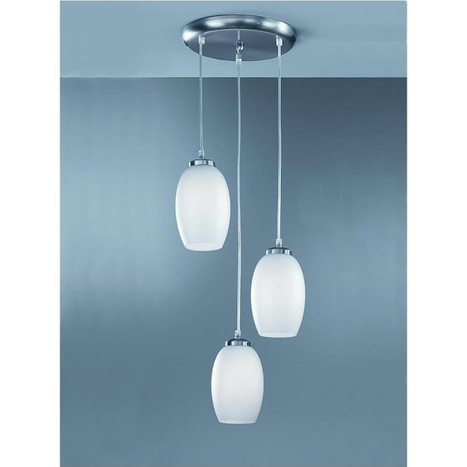 Franklite CO9573/448 Modern 3 Light Ceiling Pendant Satin Nickel