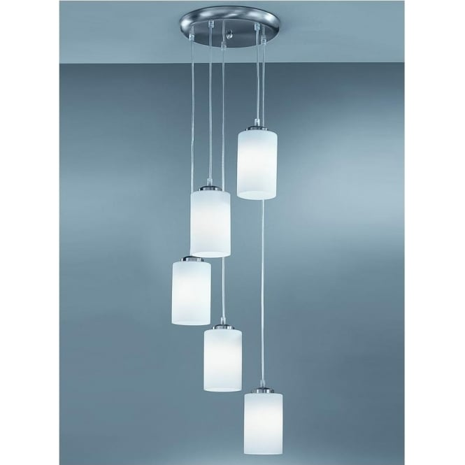 Franklite CO9575/727 Modern 5 Light Ceiling Pendant Satin Nickel