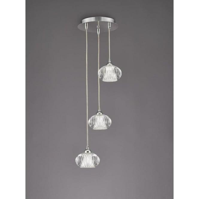 Franklite FL2343/3 Tizzy 3 Light Ceiling Pendant Chrome
