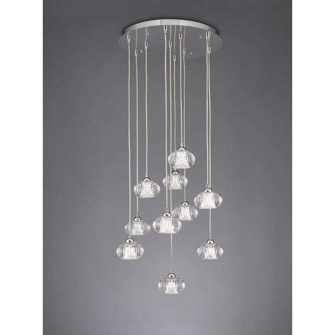 Franklite FL2344/10 Tizzy 10 Light Ceiling Pendant Chrome