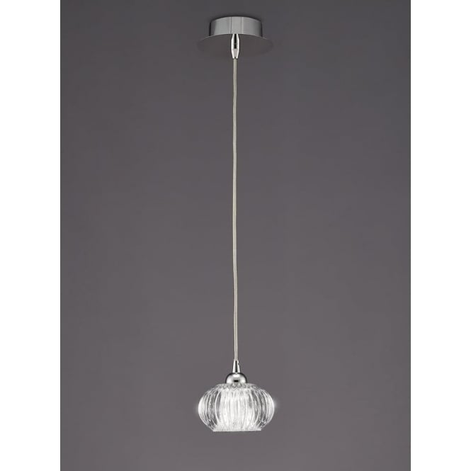 Franklite PCH117 Tizzy 1 Light Ceiling Pendant Chrome
