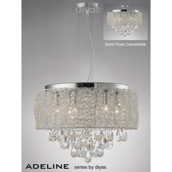 Diyas IL31161 Adeline 6 Light Crystal Ceiling Pendant Polished Chrome