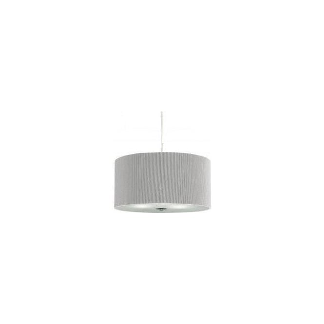 Searchlight 2356-60SI Drum Pleat 3 Light Ceiling Pendant Silver Grey