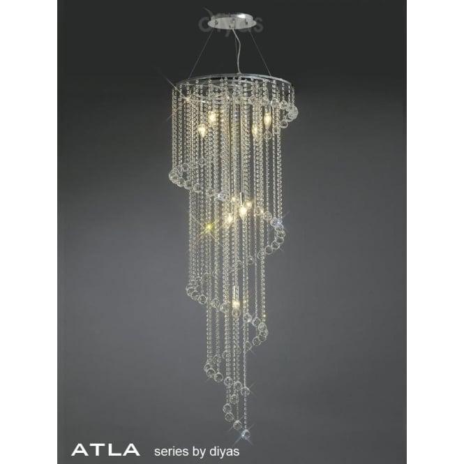 Diyas IL30098 Atla 7 Light Crystal Ceiling Pendant Polished Chrome