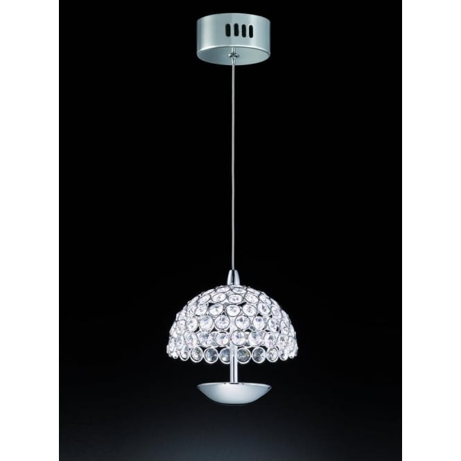 Franklite FL2349/1 Illusion 1 Light LED Ceiling Pendant Polished Chrome (Small)