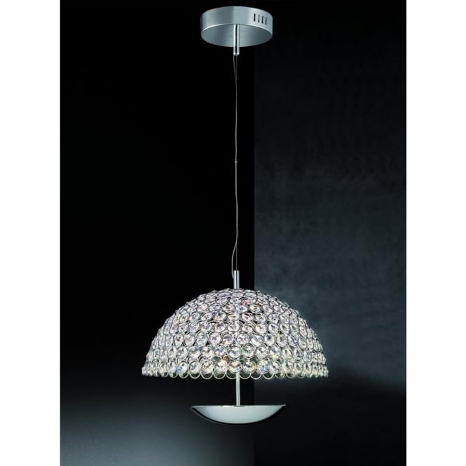 Franklite FL2350/1 Illusion 1 Light LED Ceiling Pendant Polished Chrome (Large)