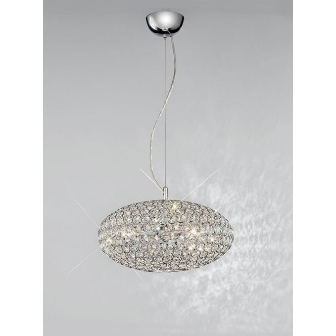 Franklite FL2273/3 Marquesa 3 Light Crystal Ceiling Pendant Polished Chrome