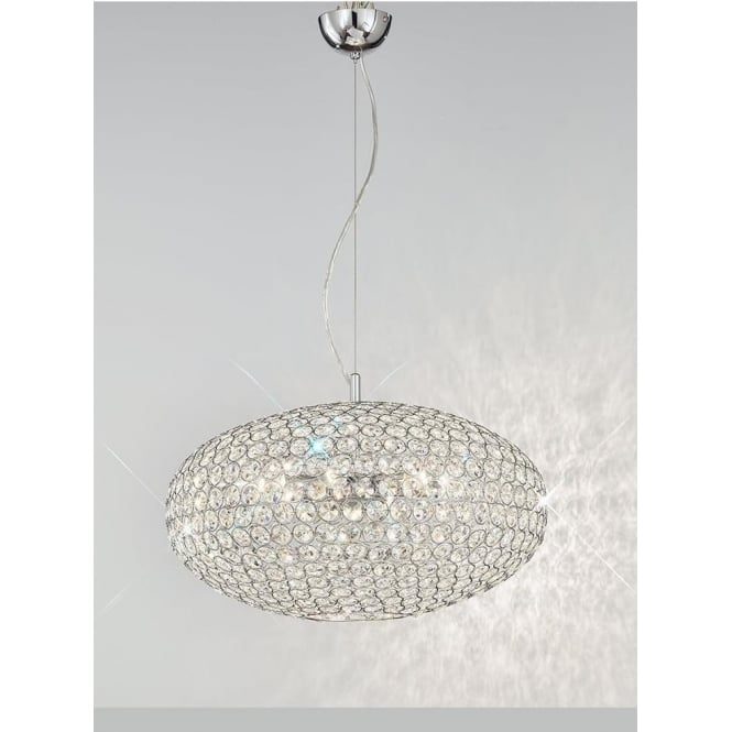 Franklite FL2273/6 Marquesa 6 Light Crystal Ceiling Pendant Polished Chrome