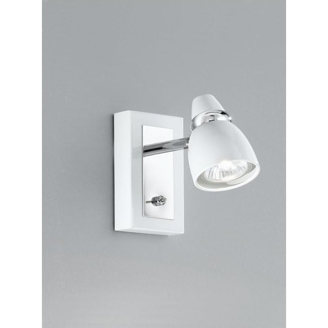 Franklite SPOT8931 Pixon 1 Light Switched Wall Spotlight White/Chrome