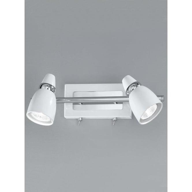 Franklite SPOT8932 Pixon 2 Light Switched Wall Spotlight White/Chrome