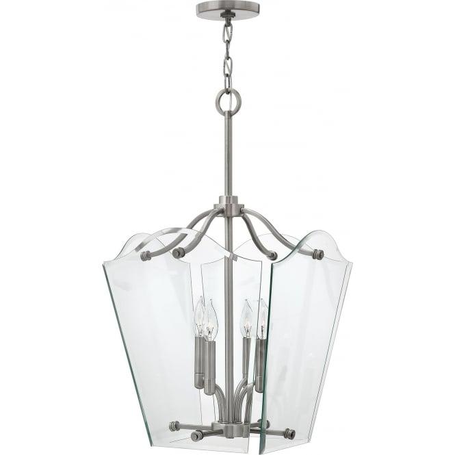 Elstead Hinkley HK/WINGATE/P/M Wingate 4 Light Pendant Lantern Polished Antique Nickel
