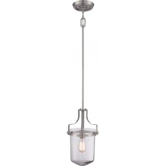 Elstead Quoizel QZ/PENNSTAT/S/BN Penn Station 1 Light Pendant Lantern Brushed Nickel