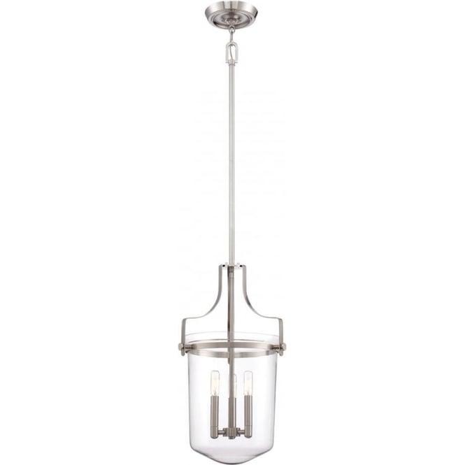 Elstead Quoizel QZ/PENNSTAT/M/BN Penn Station 3 Light Pendant Lantern Brushed Nickel