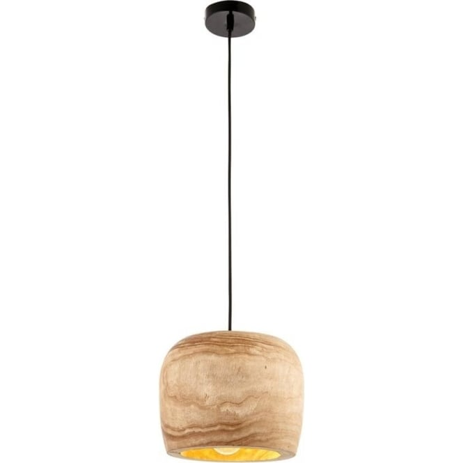 Endon 68997 Lucy 1 Light Ceiling Pendant Natural Wood (Small)