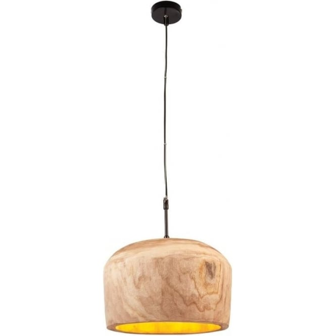 Endon 68996 Lucy 1 Light Ceiling Pendant Natural Wood (Large)